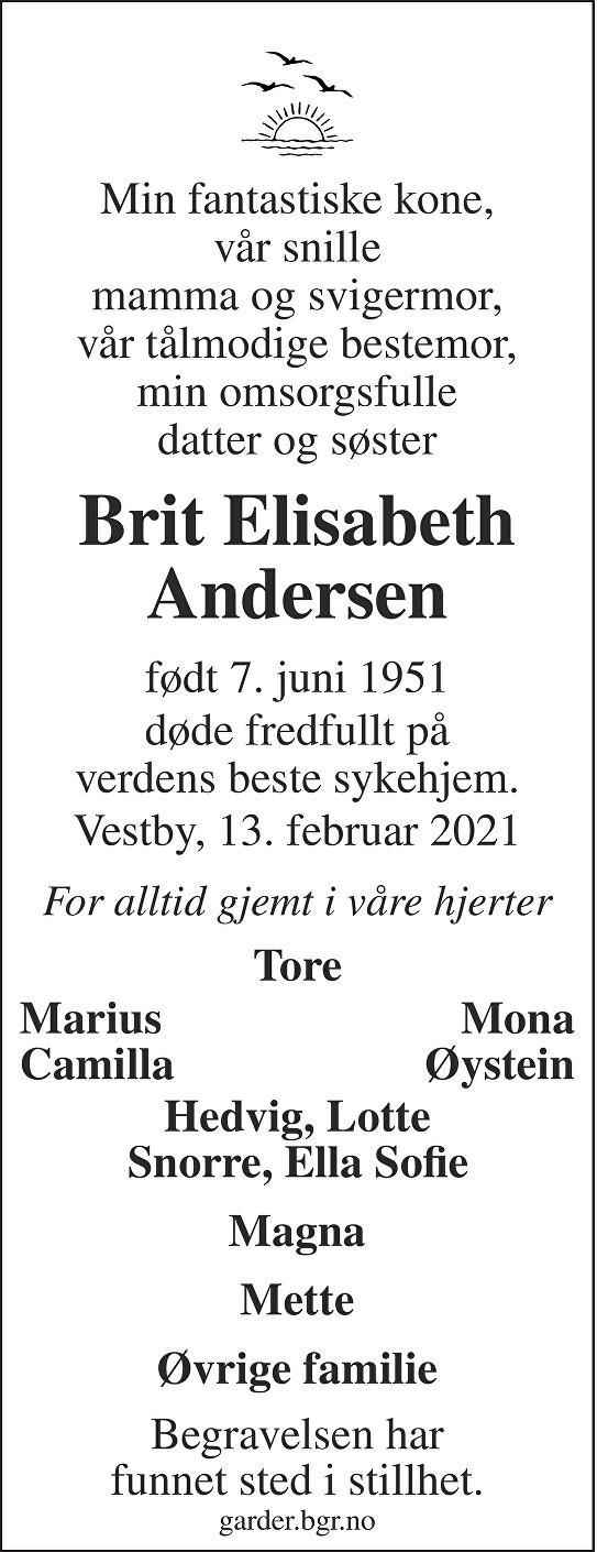 Brit Elisabeth Andersen Dødsannonse
