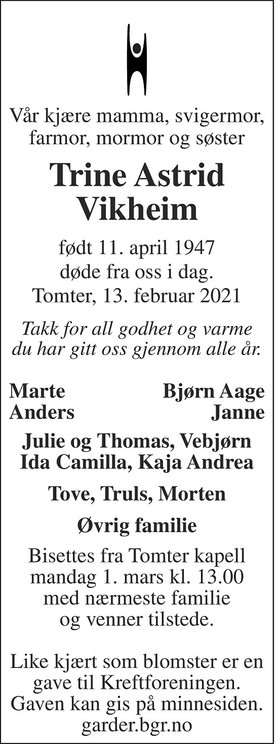 Trine Astrid Vikheim Dødsannonse