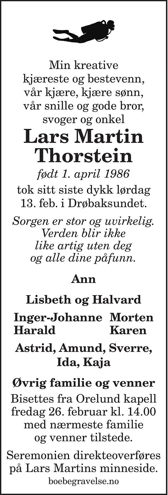 Lars Martin Thorstein Dødsannonse