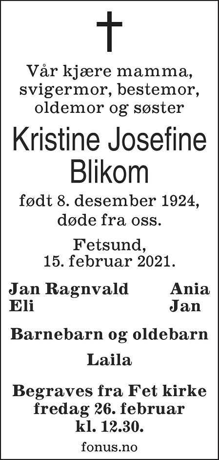 Kristine Josefine Blikom Dødsannonse
