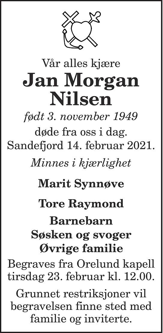 Jan Morgan Nilsen Dødsannonse