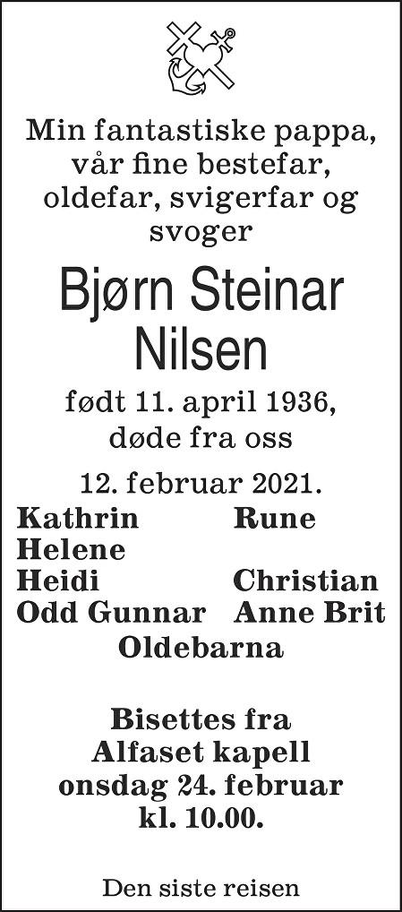Bjørn Steinar  Nilsen Dødsannonse