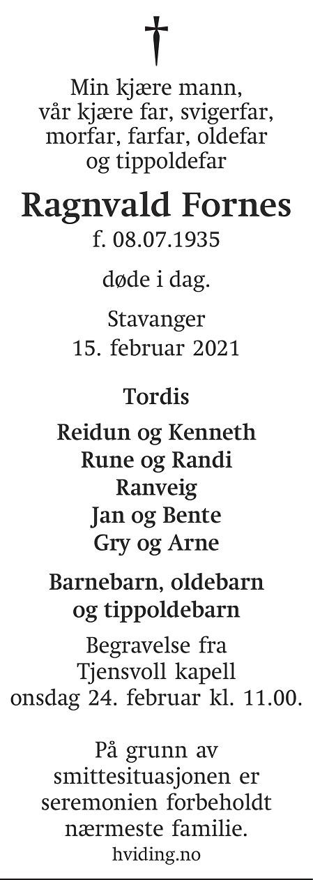 Ragnvald Fornes Dødsannonse