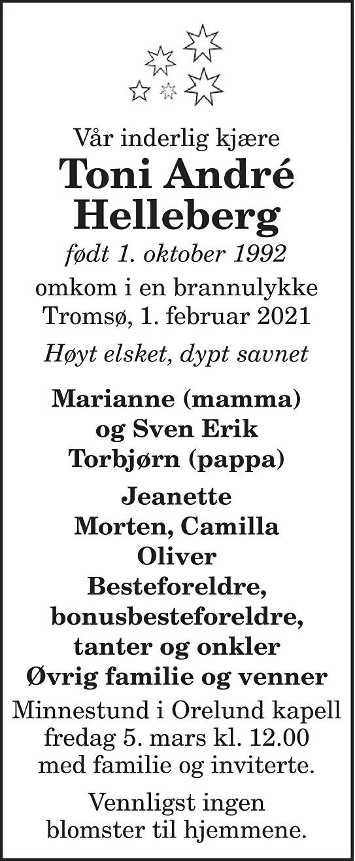 Toni André Helleberg Dødsannonse