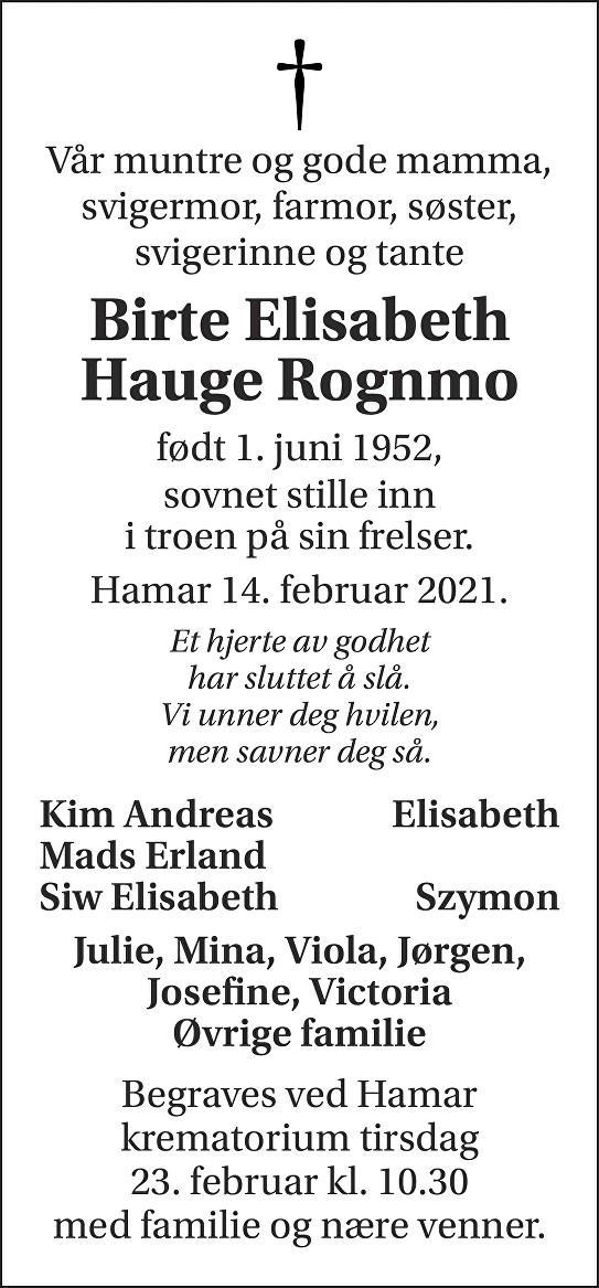 Birte Elisabeth Hauge Rognmo Dødsannonse