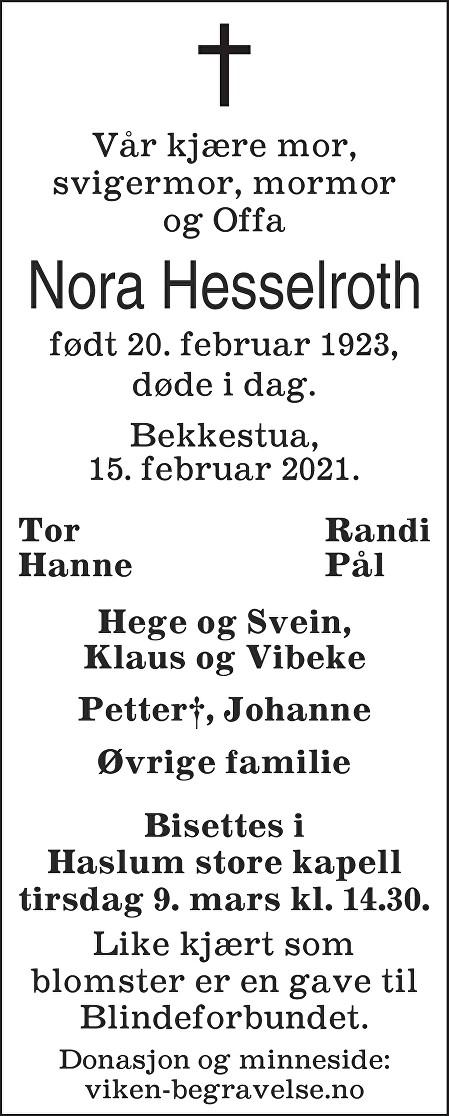 Nora Hesselroth Dødsannonse