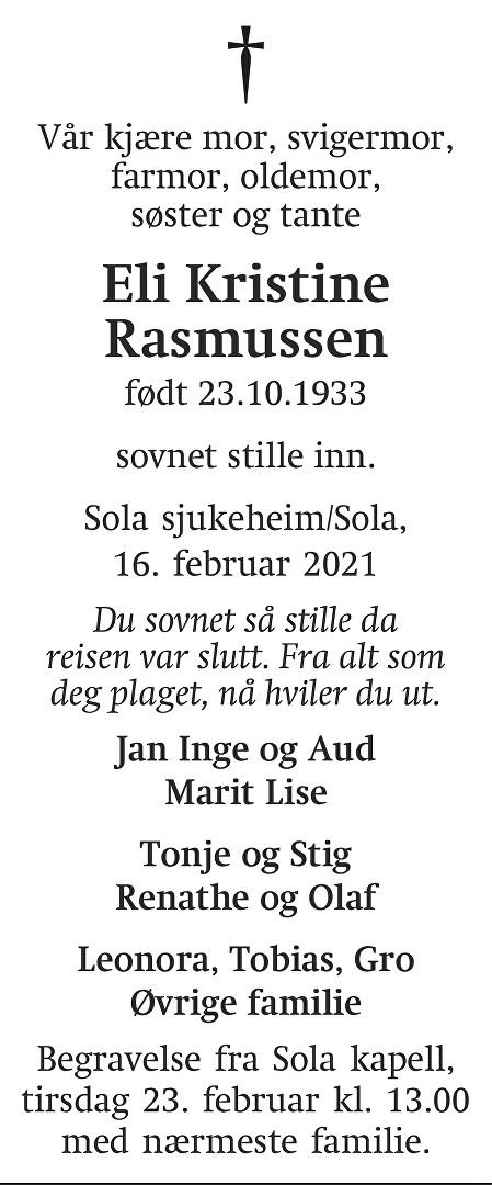 Eli Kristine  Rasmussen Dødsannonse