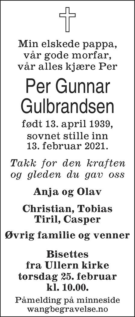 Per Gunnar Gulbrandsen Dødsannonse