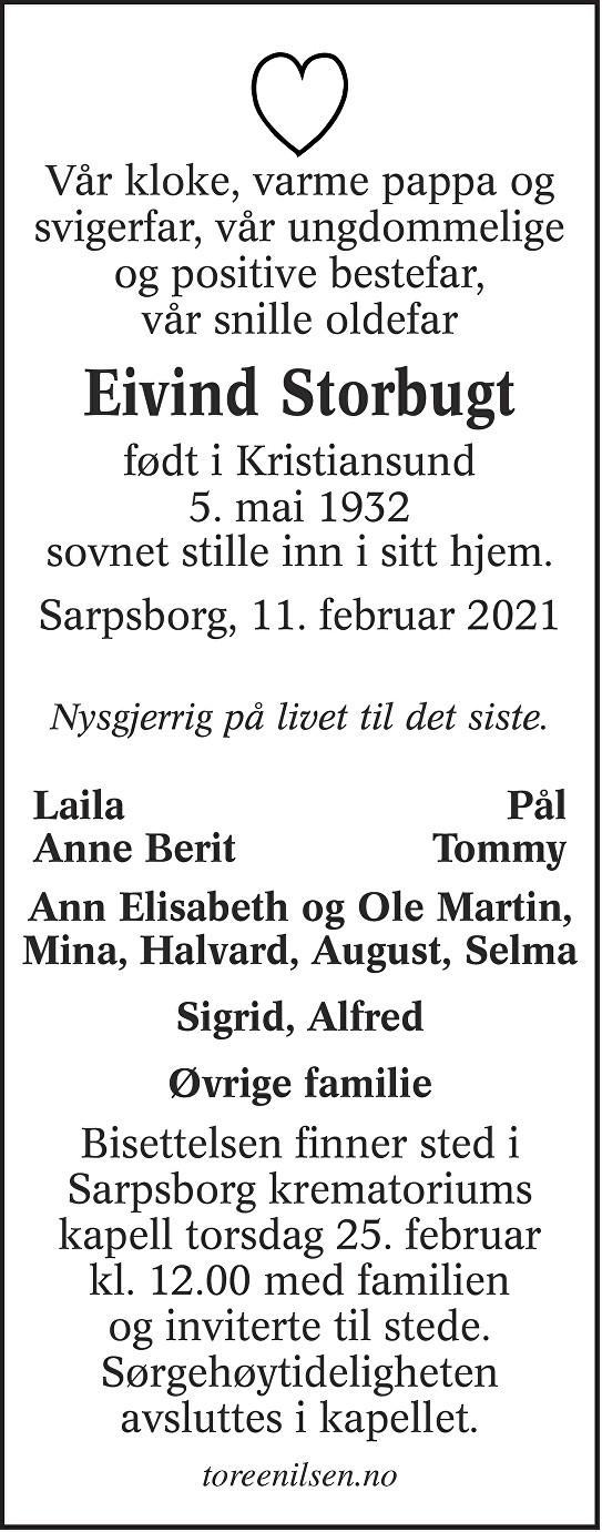 Eivind Anton Storbugt Dødsannonse