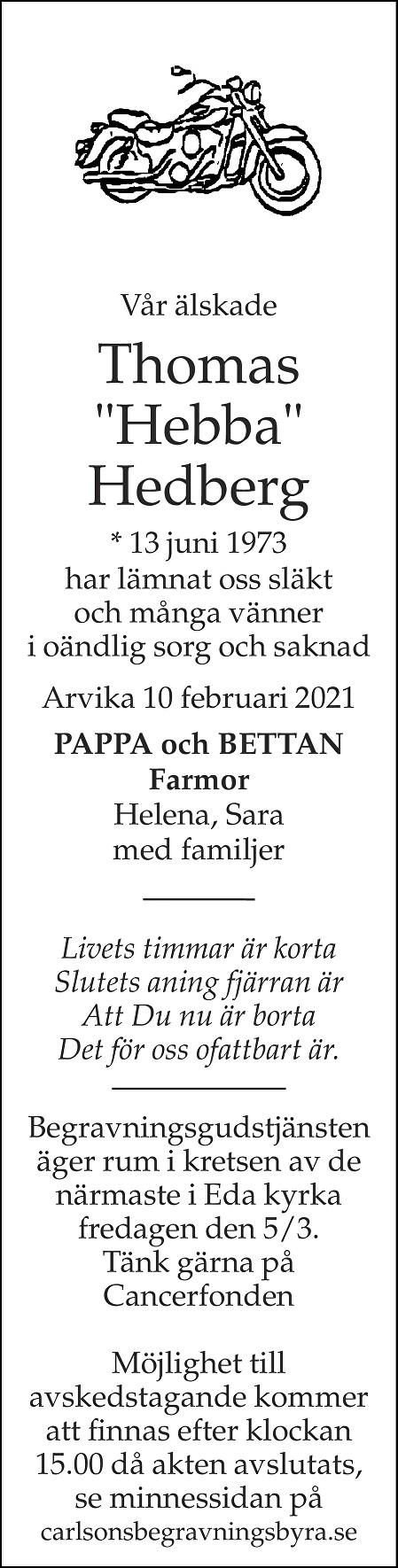 """Thomas """"Hebba"""" Hedberg Death notice"""