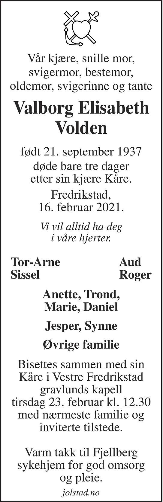 Valborg Elisabeth Volden Dødsannonse