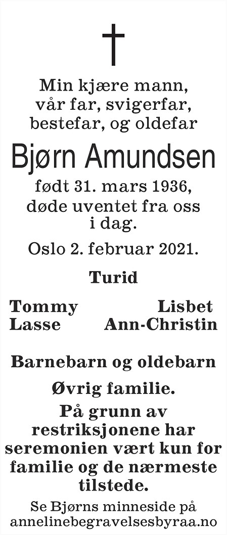 Bjørn  Amundsen Dødsannonse