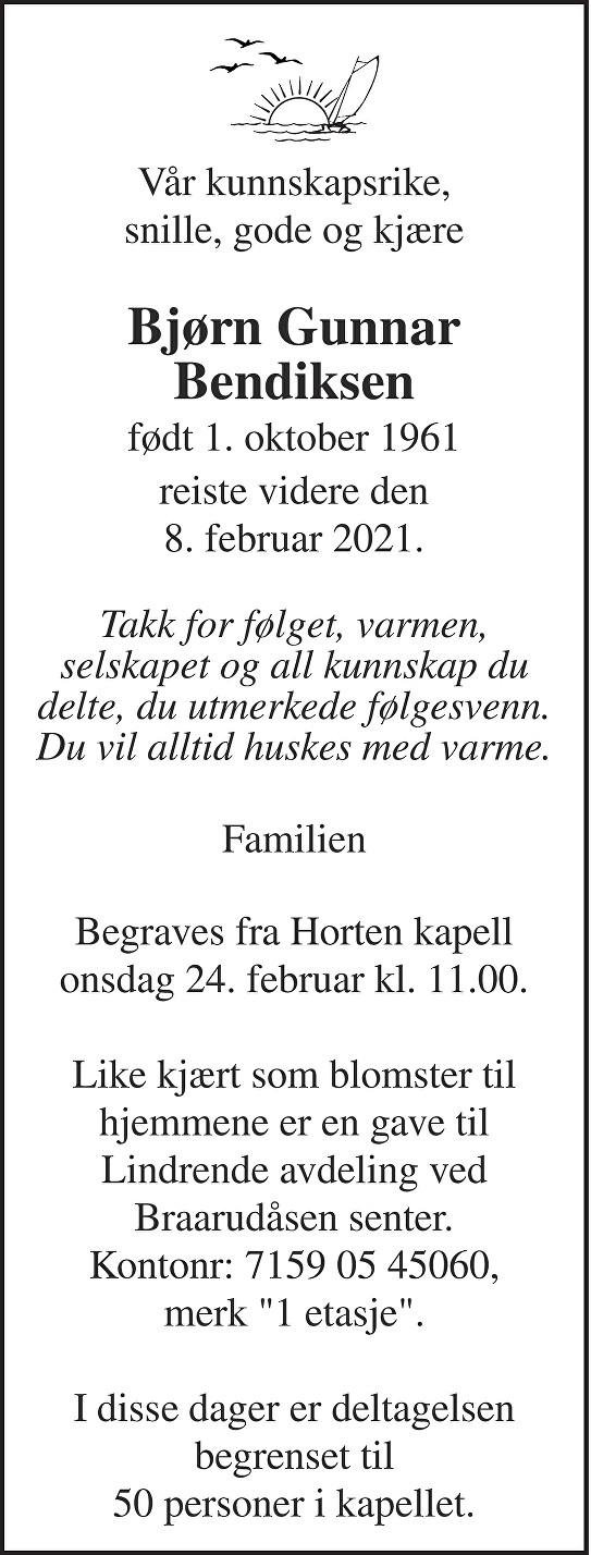 Bjørn Gunnar Bendiksen Dødsannonse