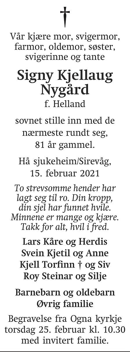 Signy Kjellaug Nygård Dødsannonse