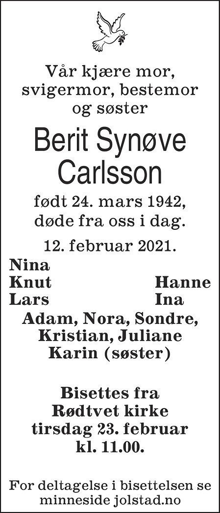 Berit Synøve Carlsson Dødsannonse