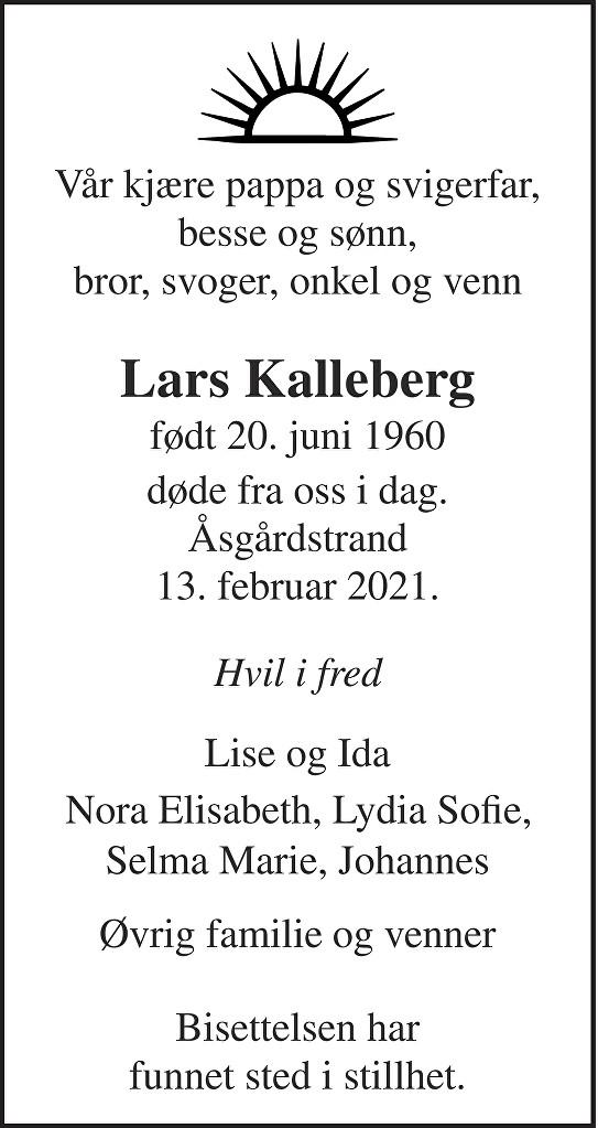 Lars Ottar Kalleberg Dødsannonse