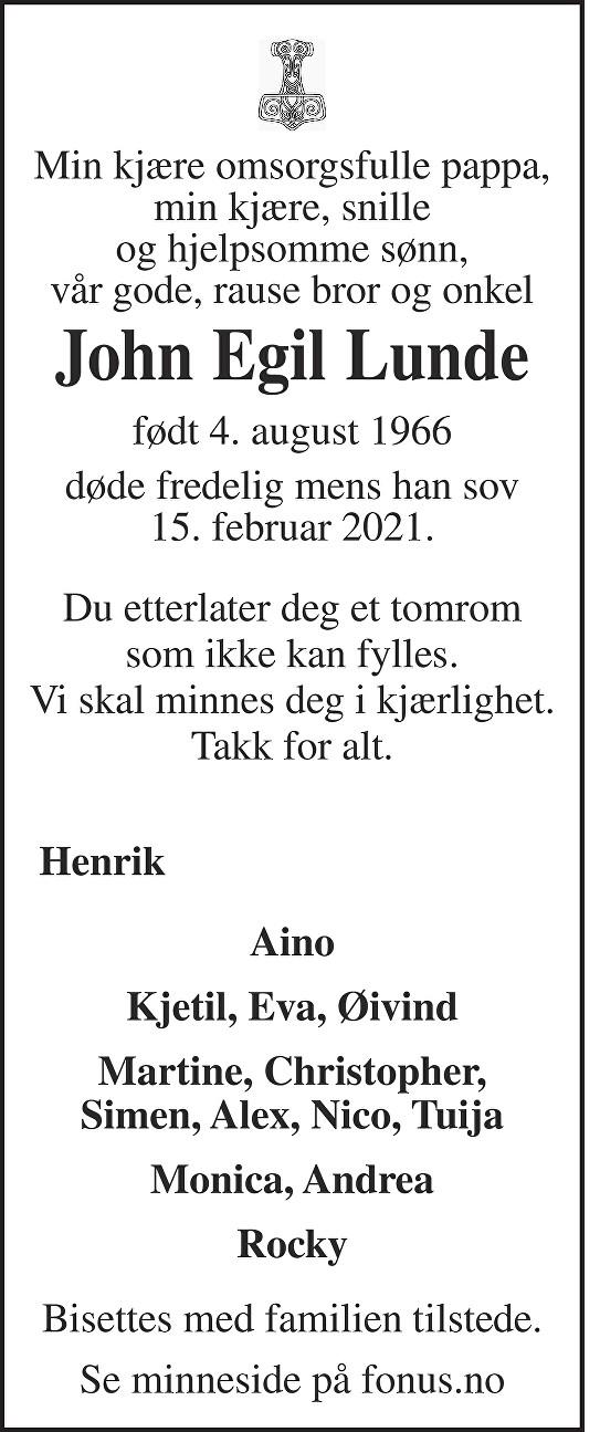 John Egil Lunde Dødsannonse