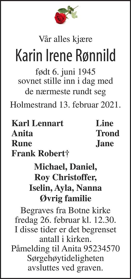 Karin Irene Rønnild Dødsannonse