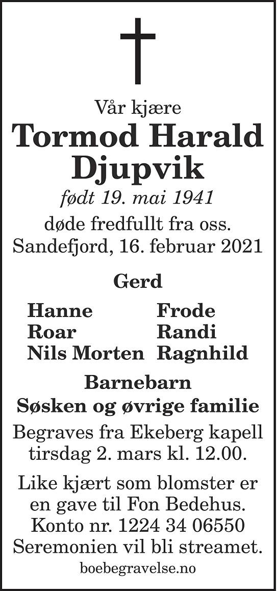 Tormod Harald Djupvik Dødsannonse