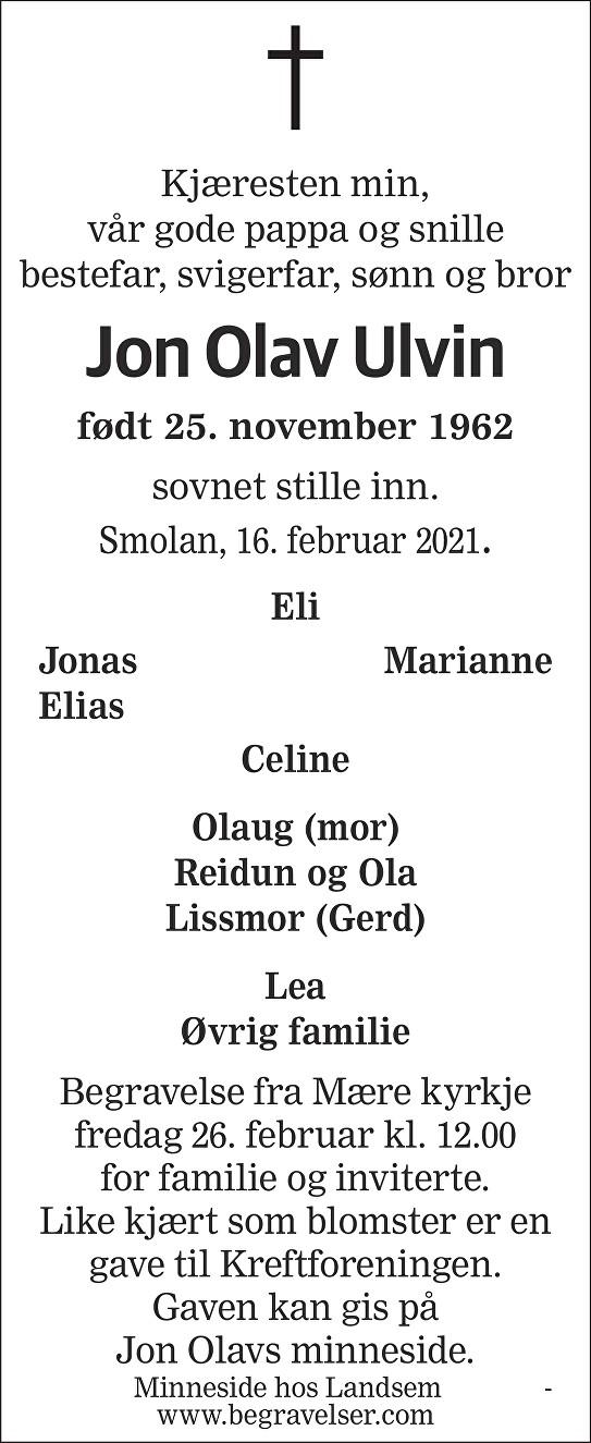 Jon Olav  Ulvin Dødsannonse