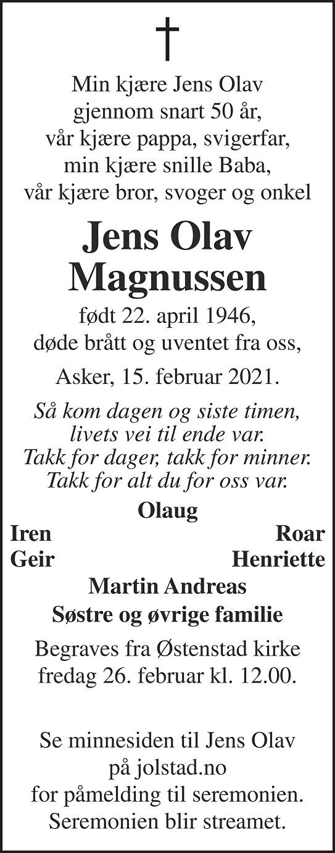 Jens Olav Magnussen Dødsannonse