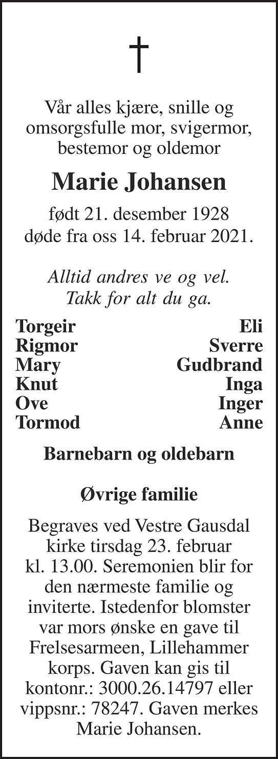 Marie Johansen Dødsannonse