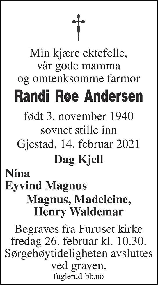 Randi Røe Andersen Dødsannonse