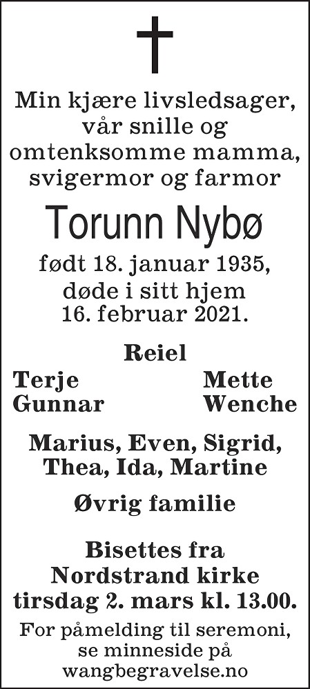 Torunn Nybø Dødsannonse