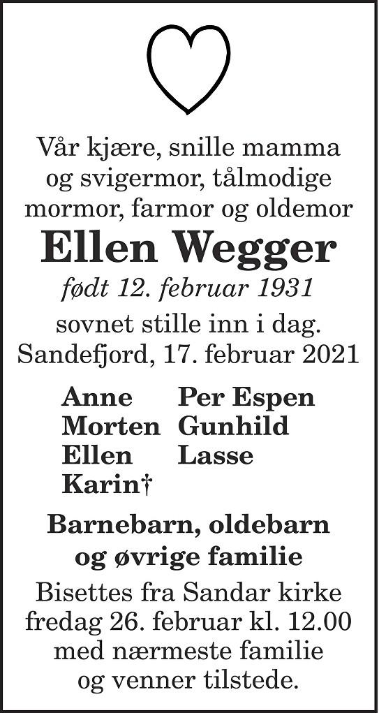 Ellen Wegger Dødsannonse