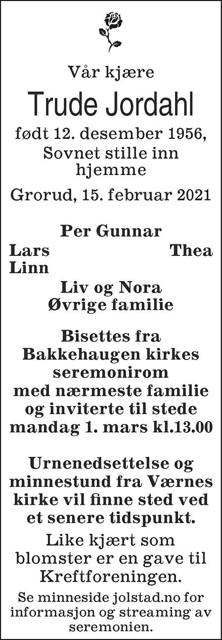 Trude Jordahl Dødsannonse