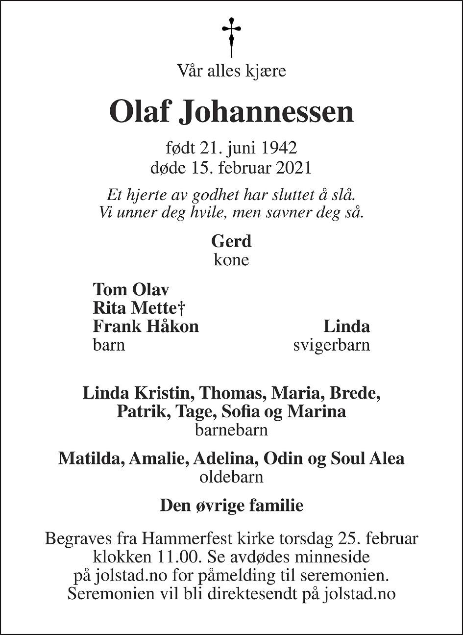 Olaf Johannessen Dødsannonse