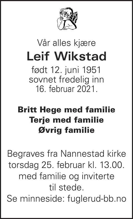 Leif Wikstad Dødsannonse