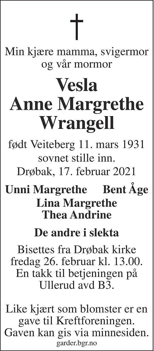 Anne Margrethe Wrangell Dødsannonse
