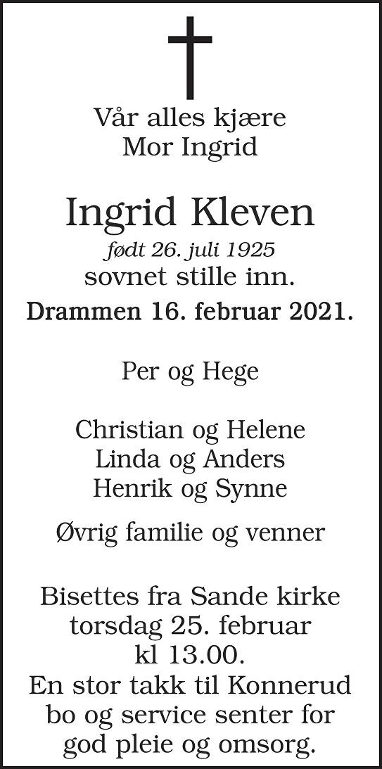 Ingrid Kleven Dødsannonse