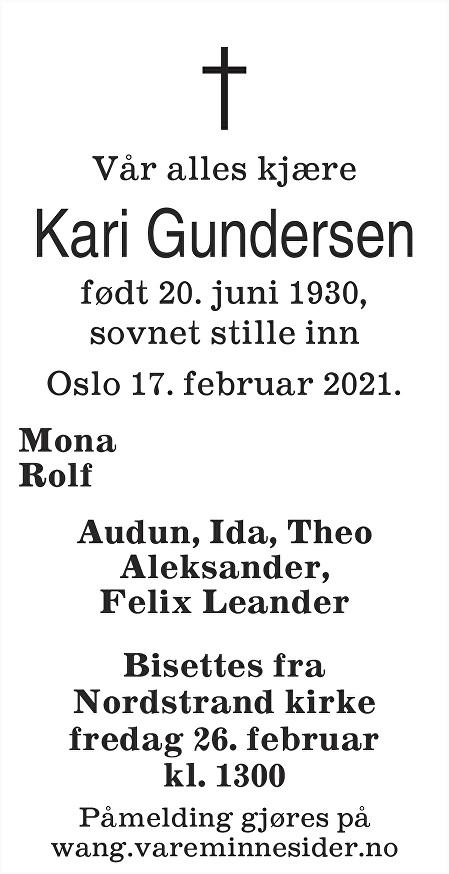 Kari Gundersen Dødsannonse