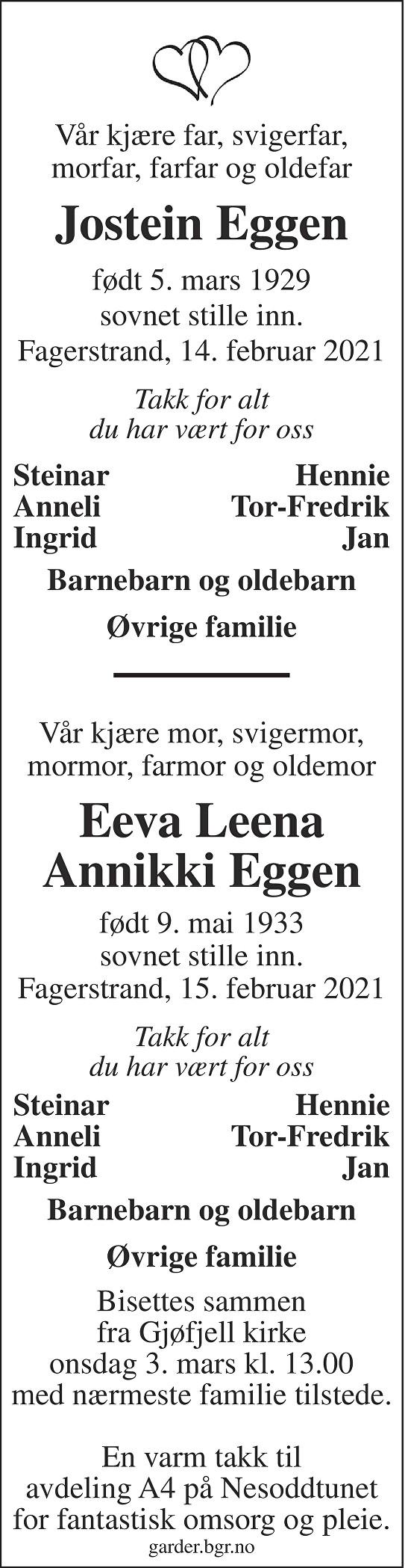 Jostein og Eeva Eggen Dødsannonse
