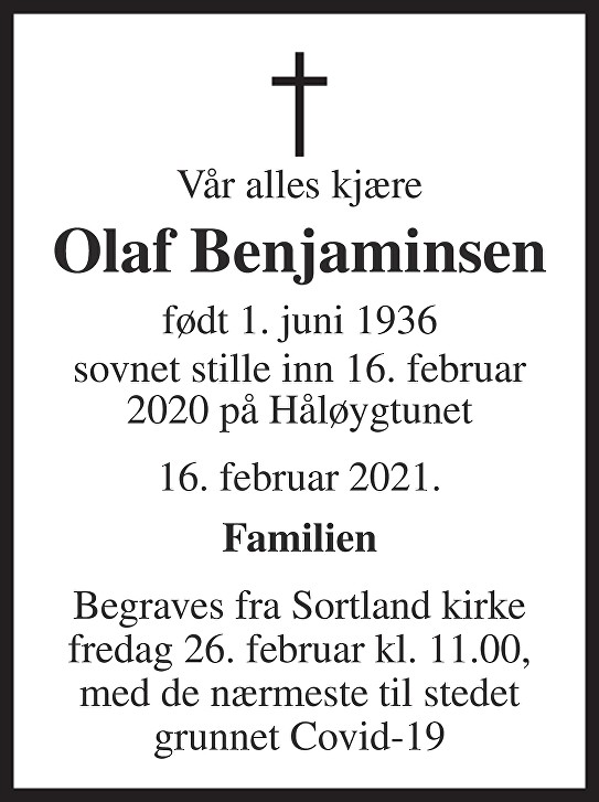 Olaf Benjaminsen Dødsannonse