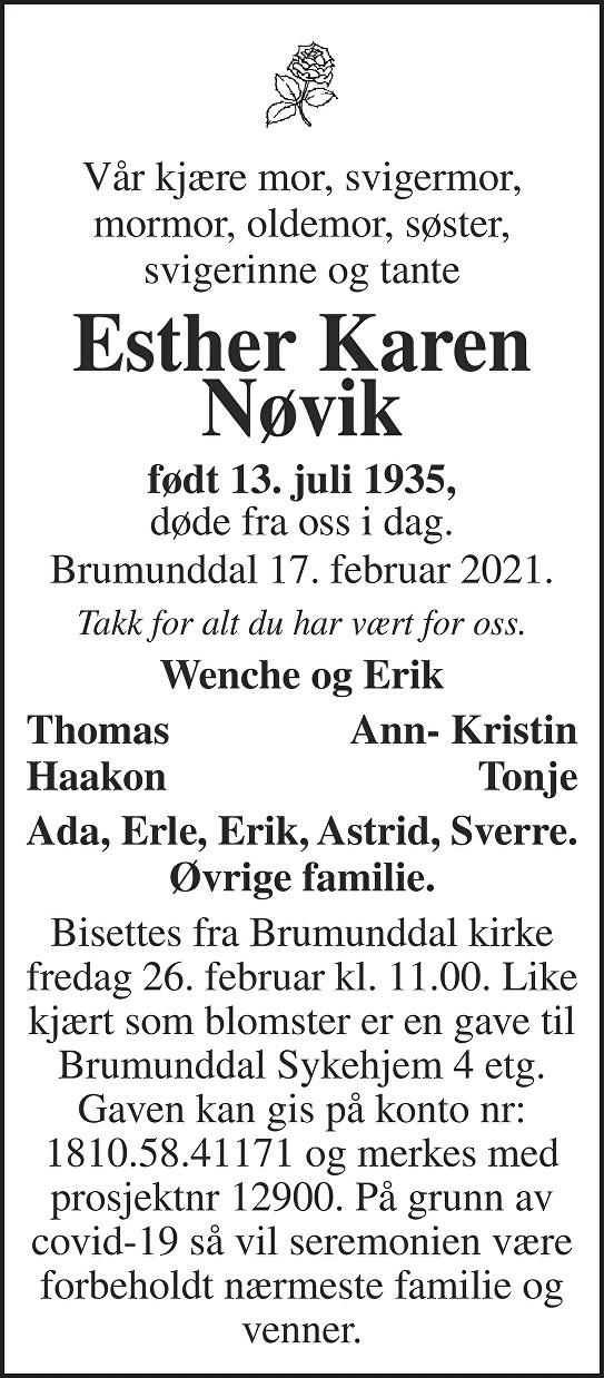 Esther Karen  Nøvik Dødsannonse