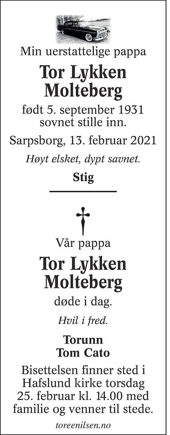 Tor Lykken Molteberg Dødsannonse