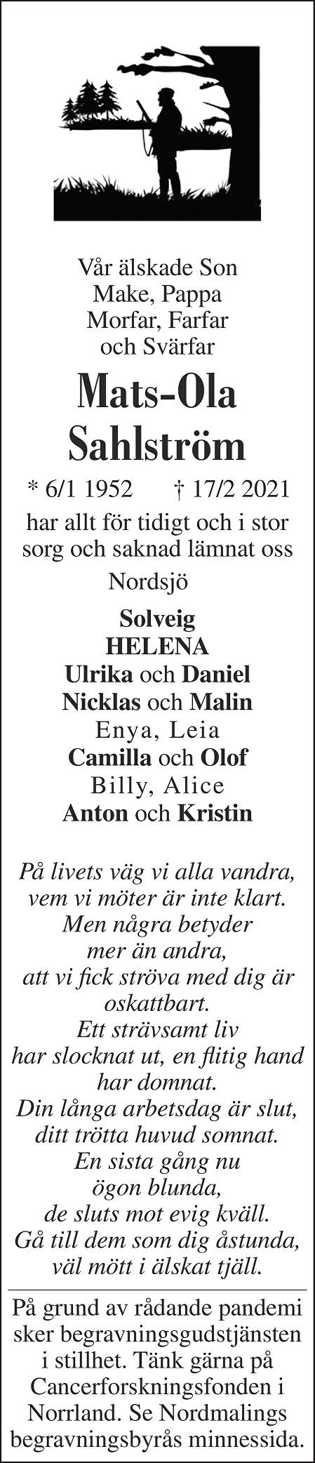 Mats-Ola Helmer Sahlström Death notice