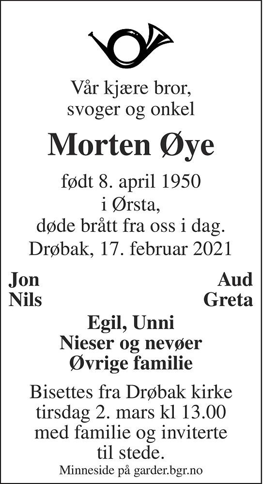 Morten Øye Dødsannonse
