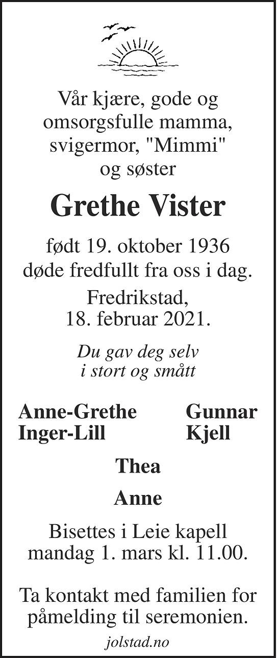 Grethe Vister Dødsannonse