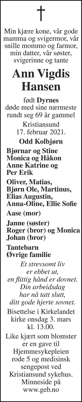 Ann Vigdis Hansen Dødsannonse