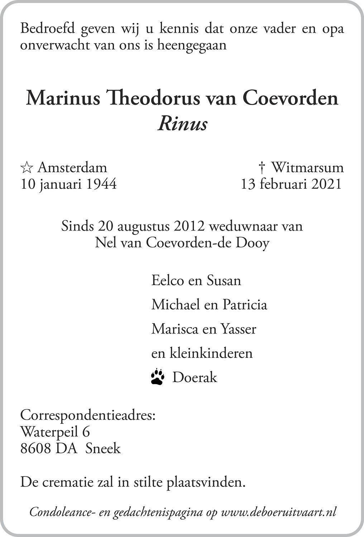 Martinus Theodorus Coevorden Death notice
