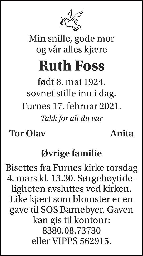 Ruth Foss Dødsannonse