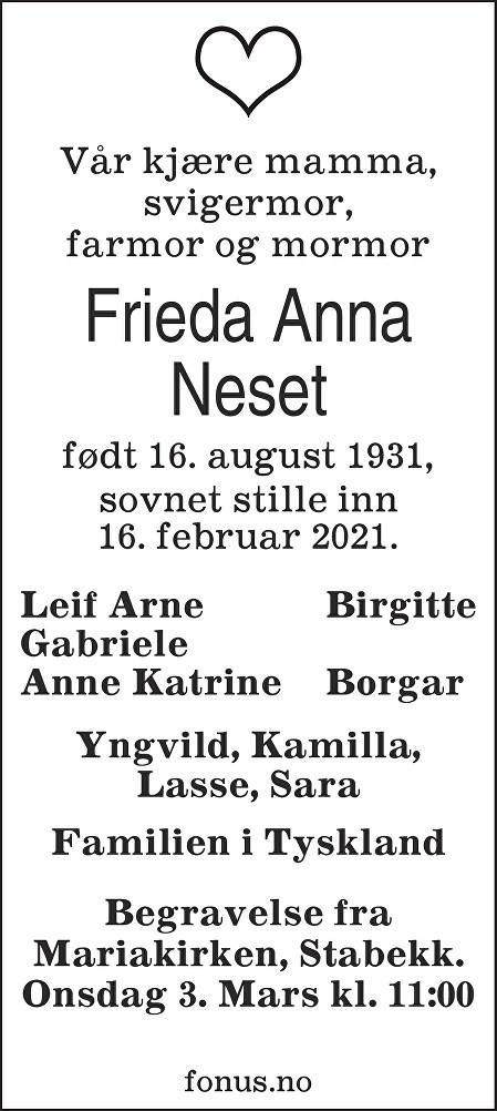 Frieda Anna Neset Dødsannonse