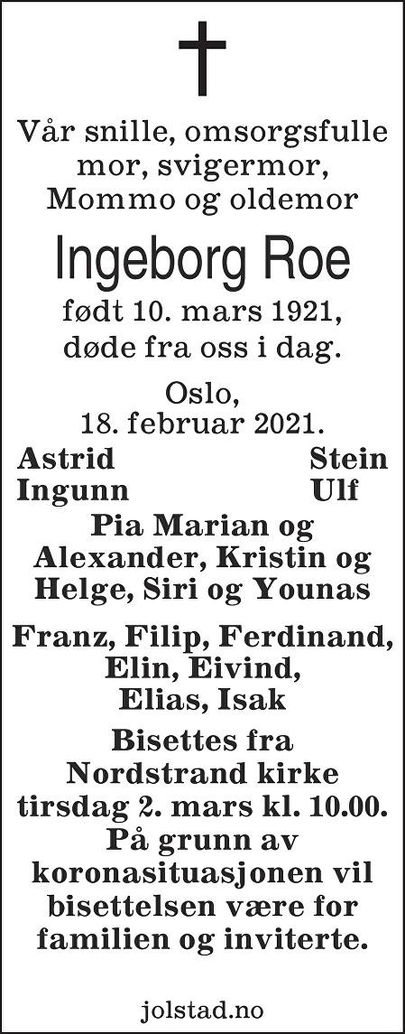 Ingeborg Roe Dødsannonse