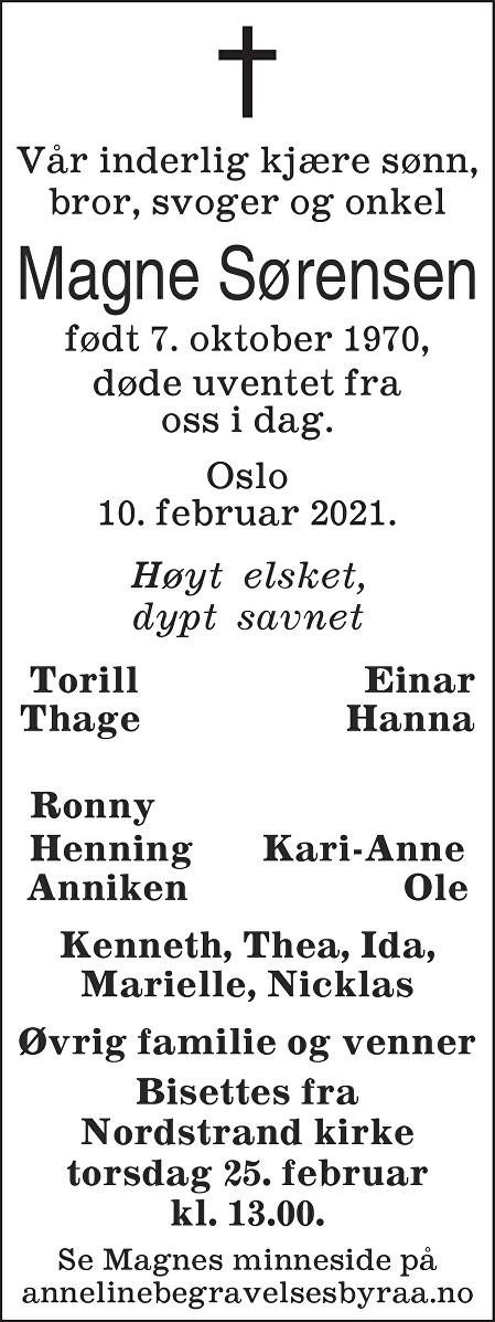 Magne  Sørensen  Dødsannonse
