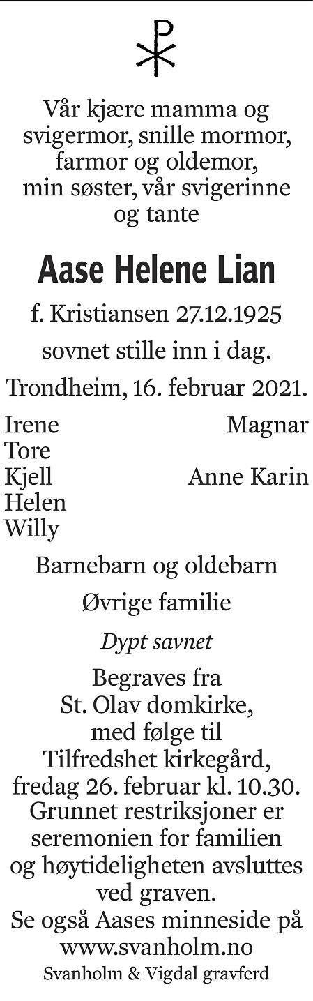 Aase Helene Lian Dødsannonse
