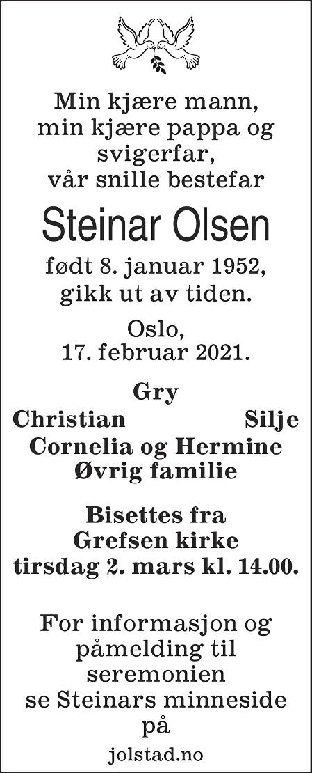 Steinar Olsen Dødsannonse